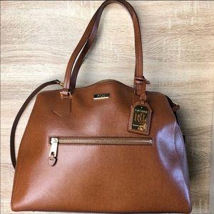 NWOT Lauren Ralph Lauren Cognac Leather Satchel